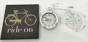 "Antique Bicycle Bike Clock 15"" x 9.5 "" + Wall Art 12"" x 12"" battery White Brown"