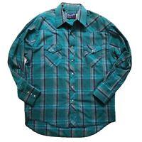 VTG Mens Wrangler Shirt X-Long Tails Western Cowboy Plaid Pearl Snap Size 16.5