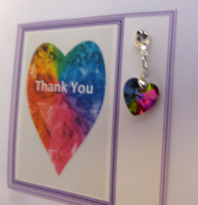 Rainbow Thank you gift Teacher Childminder NHS Keyworker Crystal Heart Charm
