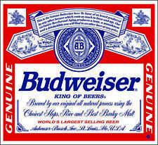 """Budweiser Beer Label Alcohol Bumper sticker, wall decor, vinyl decal, 5""""x 4.5"""""""