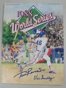 Vin Scully Tommy Lasorda Dual Hand Signed Auto 1988 World Series Program JSA COA