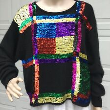 Mint! Vintage 80s M Medium Sweater Black Angora Silk Hand Embellished Sequins