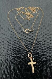 Vintage 9ct GOLD - CROSS / CRUCIFIX and CHAIN (Not Scrap)