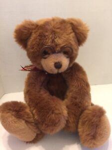 "Gund Teddy Bear ""Booker"" Plush Cuddly Softest 14""T With Glasses Festive Bow"