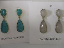 Banana Republic Zuma Beach Drop Tiered Earrings Set Of 2 NIP $45 EA Clear & Turq