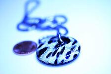 Silver Tone Metal Chain Vintage Black White Plastic Pendant