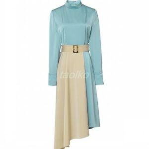 Women Stand Collar Back Zipper Long Sleeve Dress Slim Fit OL Asymmetrical Hem SZ