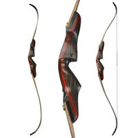 "62"" Archery American Hunting Bow Takedown Recurve Bow Wooden 20-50lbs"