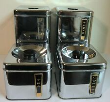 Vintage Lincoln BeautyWare Chrome Canisters Set of 4