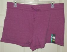 New Womens Knit Shorts front Pockets size M (8-10) Pass Plum Heather Athletic Wk