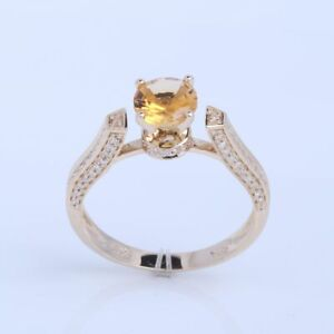 Sterling Silver Round 6.5mm Citrine Engagement Natural SI/H Diamonds Fine Ring