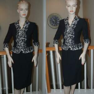 WOW ST. JOHN KNIT BLACK COUTURE STUNNING BOUCLE COLLECTION SKIRT SUIT SZ 2