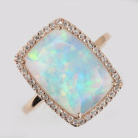 Genuine 2.17 Ct Ethiopian Opal Cocktail Ring Solid 14k Rose Gold Pave Diamond