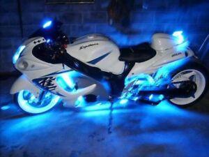 Blue 4pc LED Accent Neon Light Kit - Body Glow Lighting for Suzuki Hayabusa GSXR