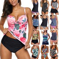Women Tankini Bikini Set Push-up Padded Bra Boardshorts Beach Swimsuit Swimwear