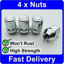 4 x ALLOY WHEEL NUTS FOR ISUZU (M12x1.5) 19MM HEX SILVER LUG STUD BOLT SET [V10]