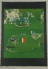 Vintage Original Lithograph Poisson Vert by Listed French Artist Roger Bezombes
