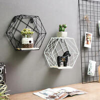 Geometric Hexagon Wall Wire Shelf Storage Holder Wood Rack Shelves Room HAR