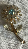 Vintage Costume Jewellery Blue Clear Crystal Flower Gold Tone Brooch