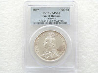 1887 British Queen Victoria Jubilee Head Silver Double Florin Coin PCGS MS61