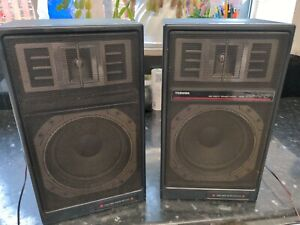 Pair of Vintage 80's TOSHIBA SS-V17 Two Way Bass Reflex Hi Fi Stereo Speakers