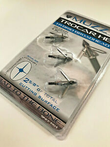 1 package Muzzy Archery Trocar HB Hybrid Mechanical 4 blade 100 Gr 3 Broadheads