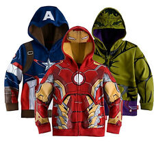 Super Heros Hoodie Captain America kids Hulk Iron Man jacket zipped coat sweater