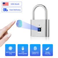 Mini Keyless USB Rechargeable Smart Door Lock Fingerprint Home Security Padlock