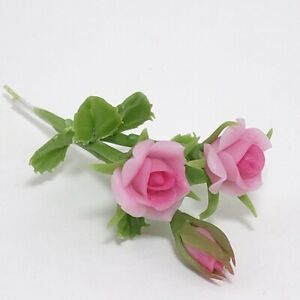 Pink Roses Flower Miniature Handmade Clay Plant Doll House Garden Decoration