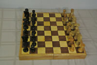 "HAND MADE Carved Chess Pieces Set Folding Wood Board 3 1/4"" King Wooden Game vtg"