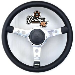 "Retro Classic 14"" Polished Vinyl Semi Dished Steering Wheel & Boss Fitting Kit"