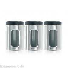 Brabantia Window Canister Brilliant Stainless Steel 1.4 Litre Air Tight Set Of 3