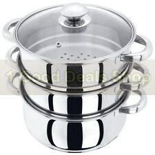 BNIB 3PC Stainless Steel 22cm Steamer Cooker Set With Glass Lid 3 Tier Cooking