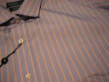 NWT - RALPH LAUREN Blue/Orange Stripe Long Sleeve Dress Shirt (18 - 34/35)