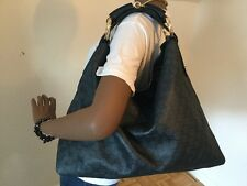 GUCCI GUCCISSIMA LARGE HORSEBIT HOBO NAVY BLUE
