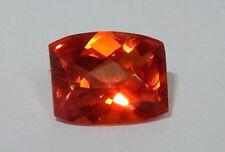 Rare Saphir orange intense coussin facetté 6.3 cts VVS 12 x 10 mm