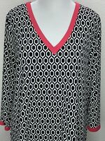 Women's Charter Club 2XL Stretchy Black White Pink 3/4 Sleeve Tunic Top