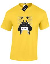 PANDA MUGSHOT MENS T-SHIRT FUNNY CUTE MEME ANIMAL LOVER DESIGN JOKE GIFT (COL)