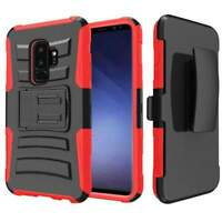 For Galaxy S9 Plus Hybrid Rugged Armor Shockproof Belt Clip Holster Stand Case