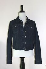 Levis Jean Denim Trucker Jacket Womens S 4 6 Dark Wash Blue Coat 100% Cotton