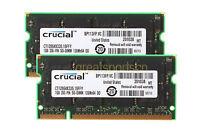 Crucial 2GB 2PCS 1GB PC2700 DDR-333MHZ 200Pin Tested SODIMM Laptop Memory RAM #H