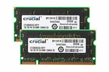 Crucial 2GB 2PCS 1GB PC2700 DDR-333MHZ 200Pin Tested SODIMM Laptop Memory RAM #H