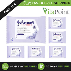 Johnson's Face Care Makeup Be Gone Pampering Wipes 6 x Packs of 25