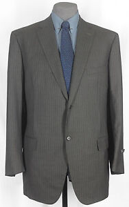 NWT_GIANLUCA ISAIA_HND_MDE_SUPR 130s CHARCOLD BRONZD 2 BTN PIN SUIT 47-48L 09383