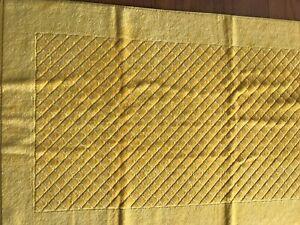 "New Yves Delorme Etoile Yellow Bath Mat Rug Diamond 25x50"" Cotton Velour Modal"