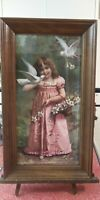 FRAMED VICTORIAN PRINT OF YOUNG GIRL WITH FLOWERS AND DOVES