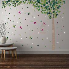 Wall Sticker Decal Green Tree with Swarovski Crystal, Home Nursery Decorations