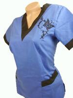 New Women Nursing Scrub Royal Blue Black Poly/Cotton Top Size S, L, XL