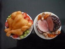 2 Thanksgiving Food XMAS Ham Turkey Dollhouse Miniatures Dinner (2.50 cm)