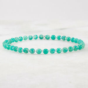 Amazonite Stretch Bracelet Sterling Silver Delicate Beaded Handmade